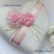 Heart shaped wedding ring cushion. Personalised with lace & chiffon flowers