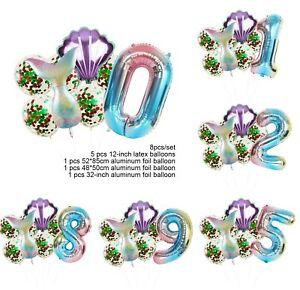 8PCS Mermaid Foil Ballon Set Shell Ballon 0-9 Number Birthday Party Decoration 9