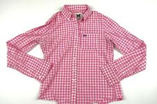Gilly Hicks Women Pink White Checks Long Sleeve Button Up Shirt Sz S