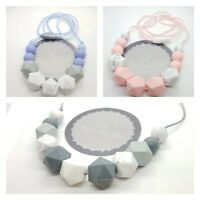 Silicone teething bead necklace baby gift sensory jewellery free PP PINK BLUE