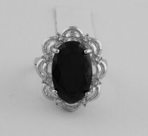 GENUINE 8.50 Cts  OVAL BLACK ONYX RING Silver Plated * New With Tag * Size 8.25