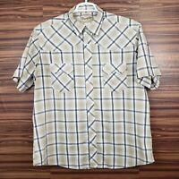 Wrangler Western Fashion Snap Mens XL Tan Plaid Short Sleeve Pearl Snap Shirt