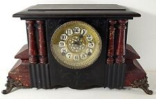 William Gilbert Mantel Clock Cato Model C 28 April 1896 Marbleized Wood With Key