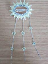 Ladies Hair Clip/Clasp Crystal Oval Shape Rhinestone Light Yellow