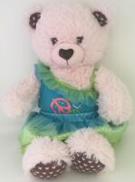 """Build a Bear Light Pink with brown hearts inner ears & feet paws 16"""" With Outfit"""