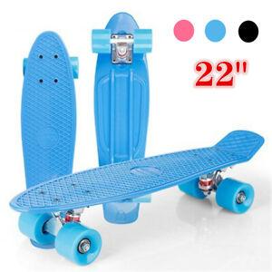 """22"""" Cruiser Skateboard Skater Board New Retro Deck Cruiser Plastic Kids Toys UK"""