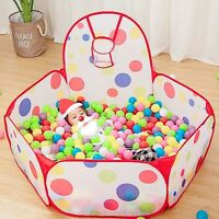 Play Tent for Kids Pop Up Playhouse Ball Pit Ball w/ Basketball Hoop Toddle Gift