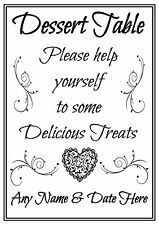 Personalised Dessert Table Sign Poster Wedding Celebrations Party (1)