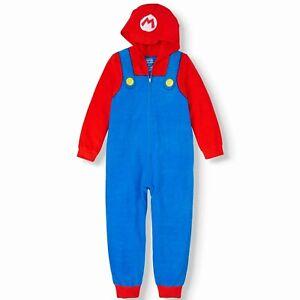 Nintendo Super Mario Pajamas One Piece Hoodie Union Suit Halloween Costume 14 16