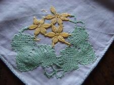 Vintage Fine Cotton Hankie,Handkerchief~Applique Embroidery Motif~Hand stitched