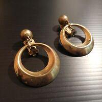 Paire anneaux boucles oreille cuivre laiton bijou vintage art déco femme N4489