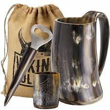 Viking Culture Ox Horn Mug, Shot Glass,and Bottle Opener 3 pic set