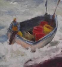 The Lobster Boat : Original Impressionist Oil Painting on Board : Shaun Viney