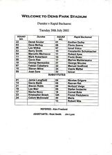 Teamsheet-Dundee V RAPID BUCAREST 2002/3 pre-Stagione amichevole