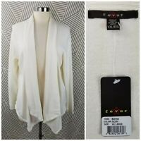 New Fever Cardigan Sweater Stretch Cotton size XXL open Drape lightweight white