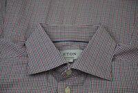 Eton Contemporary RECENT Multicolor Check Plaid Spread Collar Dress Shirt 17 XL