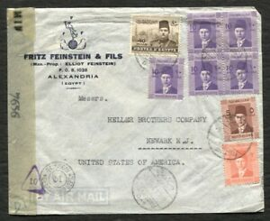 EGYPT WWII Censored cover to USA 1944