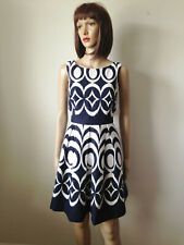 THE LIMITED Sz 4 White Navy Cotton SLEEVELESS DRESS Pleat Skirt Lined Pockets