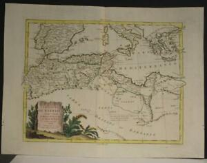 BARBARIAN COAST NORTH AFRICA MEDITERRANEAN SEA 1794  ZATTA UNUSUAL ANTIQUE MAP