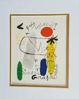 Joan Miro Sculptures Art Graphique Poster Print Matted Offset Lithograph 1980