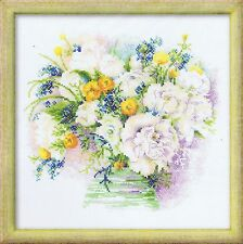 "Watercolour Peonies Cross Stitch Kit - 11.75"" x 11.75"" - Riolis"