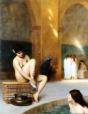 Mujer Desnuda De Jean Leon Gerome Femme Nue Lona Impresión Póster De Escena Oriental Nuevo