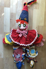 "Handmade Patchwork Rag Doll Scary Creepy Clown Yarn Hair Pointed Hat 28"""