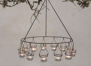 Lrg Rustic Metal Tea Light Circular Hanging Chandelier Candle Holder Nkuku Timo