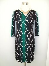JANE LAMERTON Green Black Geometric Print Shirt Dress-Size 8-Made in Australia