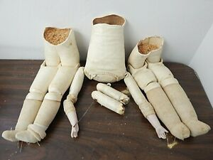 Antique Leather Doll Body Parts, 2 Lower Torso w/Legs, 1 Upper Torso w/Arms