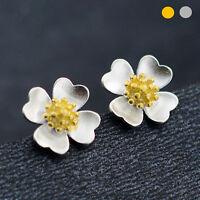 925 Sterling Silver Clover Shamrock Flower Silver Golden Stud Earrings Two-Tone