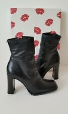 Womens Two Lips Tanya Black Leather Zip Heel Ankle Boots Size 5.5