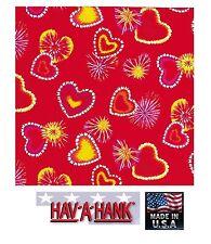 USA MADE RETRO RED HEARTS Burst Tie Dye Bandana BANDANAS Scarve Scarf Head Wrap