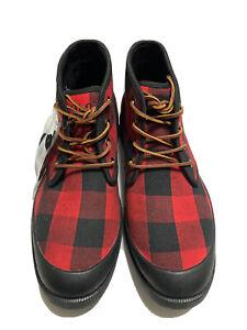 Polo Ralph Lauren Umar Red Buffalo Plaid Canvas Lace Up Boots Men's US 11