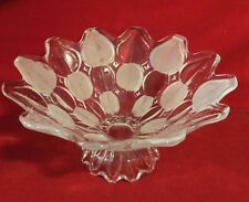 "Large Footed Glass Fruit Bowl PETAL Pattern FROSTED scalloped edge 11 1/2"" x 6"""