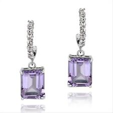 925 Silver 5ct Amethyst & White Topaz Rectangle Dangle Earrings