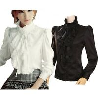 High Neck Shirt Ruffle front Gorgeous Vintage Frilly Blouse Womens Top size 18