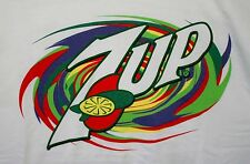 Rare Vintage 2000's Green Swirl 7up Brand Soda Advertising T-Shirt NOS New SZ XL