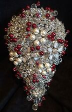 ❤️ Bridal Brooch Bouquet Red Beads & Clear Crystal Beads With Or Without Pearls