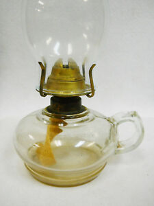 Vintage glass oil / kerosene lamp -Brass Burner  Eldorado W.B.C.Corp  w/ Chimney