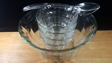 Glass Salad Bowl 7 PC Set Large Serving 4 Individual Bowls Toscany Sierra Panels