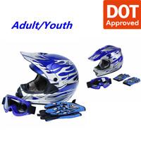 DOT Dirt Bike ATV Motocross Helmet w/ Gloves + Goggles Size M/L/XL Adult / Youth