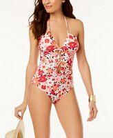 Michael Kors Women's Floral Print Keyhole Halter One-Piece Swimsuit, Pink, 4