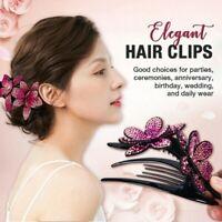 Rhinestone Double Flower Hair Clip Flexible Durable Women Dovetail Hair Clips