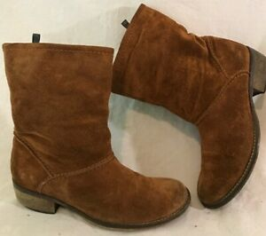 Next Brown Mid Calf Suede Lovely Boots Size 4 (418v)