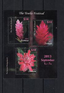 Samoa 2013 MNH Teuila Festival 3v M/S Flowers Flora