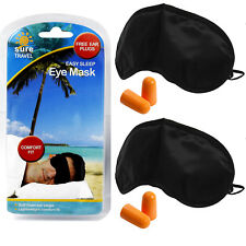Sure Travel Comfort Fit Black Out Eye Shield Shade + Foam Ear Plugs Twin Pack