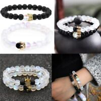 Couples Distance Bracelets Moonstone Bead Lover Crown His And Her Bracelets