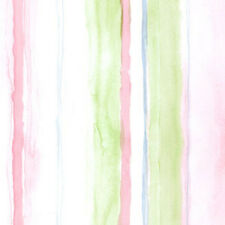 Pink & Lime Green with a touch of Blue Watercolor Stripe Wallpaper LW26415