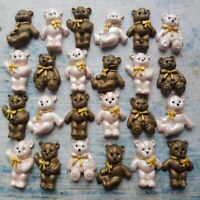 24 EDIBLE SUGAR GUM PASTE FONDANT TEDDY BEARS CAKE CUPCAKE TOPPERS DECORATIONS